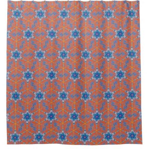Orange And Blue Kaleidoscope Shower Curtain Zazzle