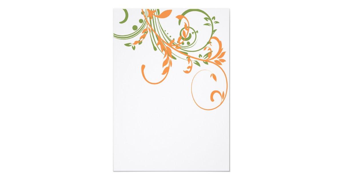 Orange And Green Wedding Invitations: Orange And Green Double Floral Wedding Invitation