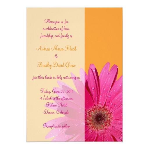 Gerbera Wedding Invitations: Orange And Pink Gerbera Daisy Wedding Invitation