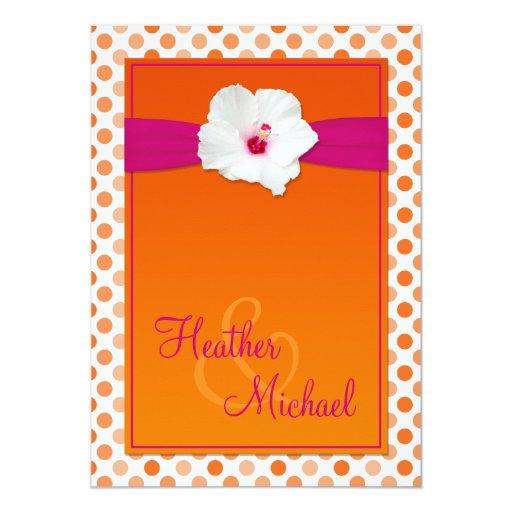 Pink Orange Wedding Invitations: Orange And Pink Polka Dot Wedding Invitation