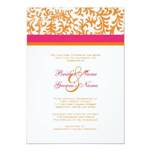 Pink Orange Wedding Invitations: Orange And Pink Wedding Invitation