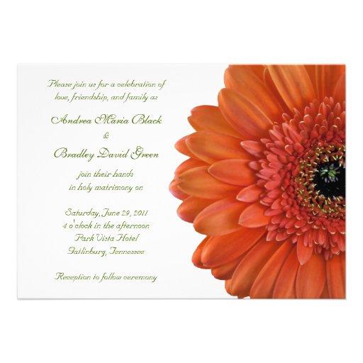 "Gerbera Wedding Invitations: Orange Gerbera Wedding Invitation 5"" X 7"" Invitation Card"