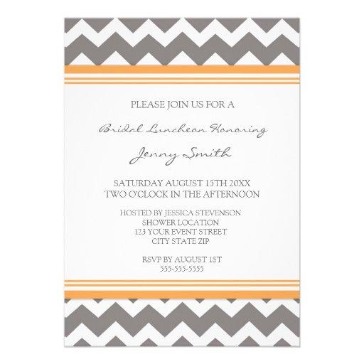 """orange gray chevron bridal lunch invitation cards 5"""" x 7"""