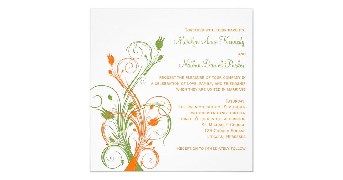Orange And Green Wedding Invitations: Orange Green White Floral Sq. Wedding Invitation