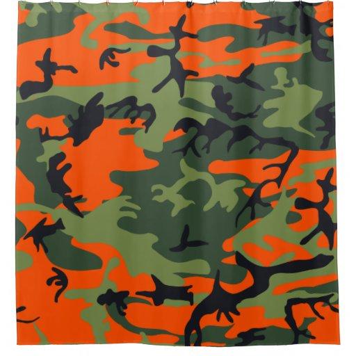 Orange Light Dark Green Black Camo Camouflage Shower ...