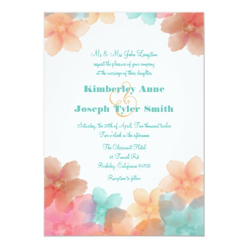 Orange, Pink, And Turquoise Floral Wedding 5x7 5x7 Paper