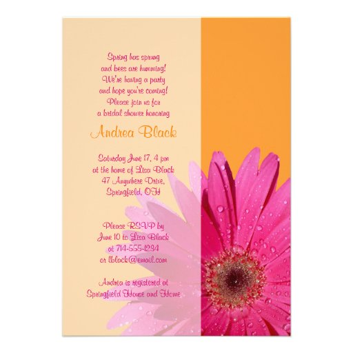 "Hot Pink Gerbera Daisy White Wedding Invitation 5 X 7: Orange Pink Gerbera Daisy Bridal Shower Invitation 5"" X 7"