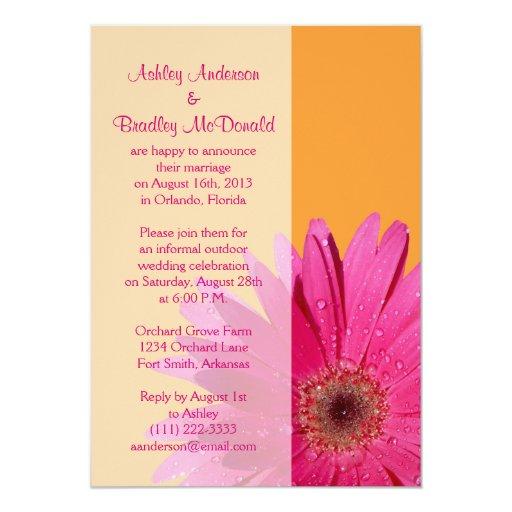 Orange Pink Gerbera Daisy Wedding Reception Only 5x7 Paper