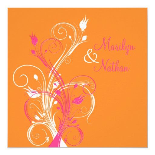 Pink Orange Wedding Invitations: Orange Pink White Floral Square Wedding Invitation