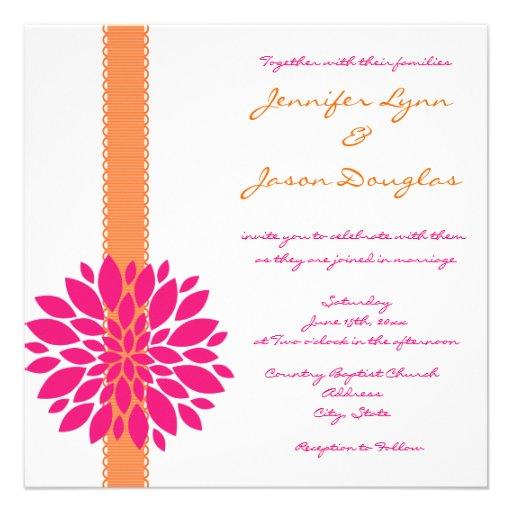 "Pink Orange Wedding Invitations: Orange Ribbon Pink Flower Wedding Invitations 5.25"" Square"