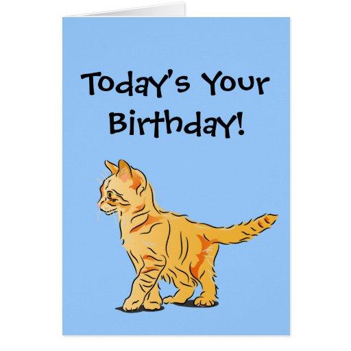 Birthday Orange Cat: Orange Tabby Kitten On Blue Birthday Greeting Card