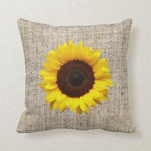 Burlap Home Decor: Orange Yellow Sunflower Burlap Home Decor Pillow