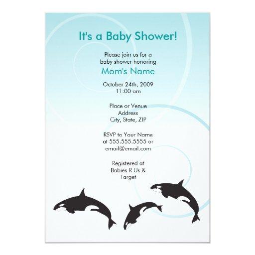 Family Baby Shower Invitations: Orca Family Trio Baby Shower Invitation