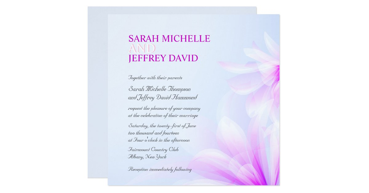 Blue Orchid Wedding Invitations: Orchid Blue Violet Floral Wedding Invitations