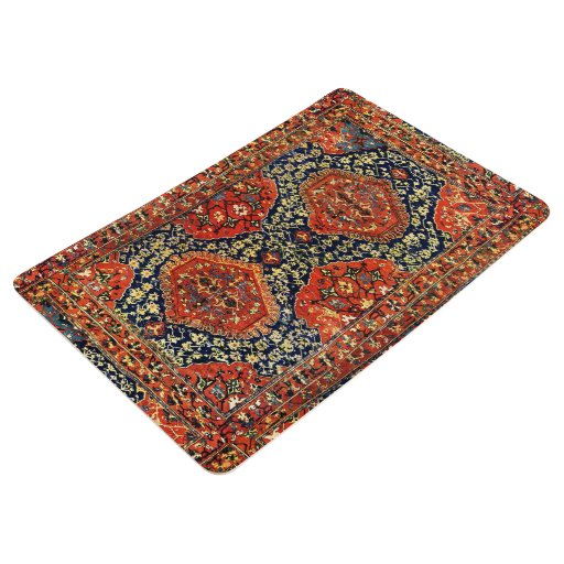 Oriental Rug In Blue Amp Orange Floor Mat Zazzle
