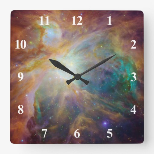 Orion Nebula with White Numbers Square Wall Clock | Zazzle