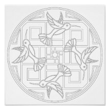 OrnaMENTALs #0021 Hummingbird Color Your Own Poster