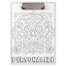 OrnaMENTALs #0028b Sugar Skulls Color Your Own Clipboards
