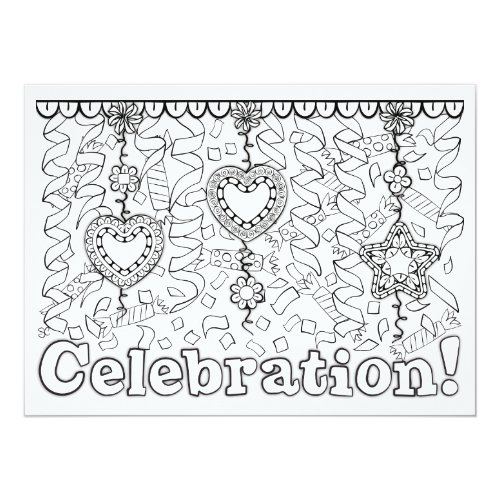 OrnaMENTALs Celebration Streamers Color Your Own Card