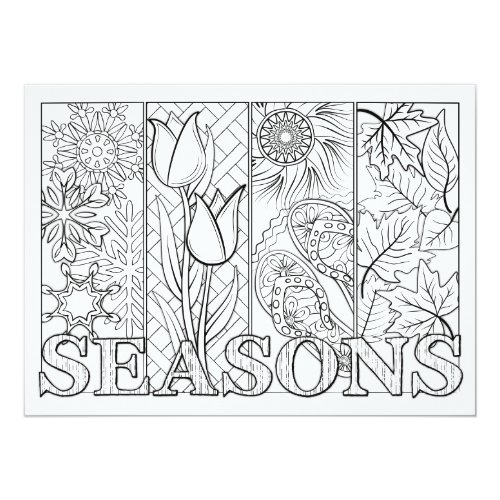 OrnaMENTALs Four Seasons Color Your Own Card