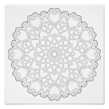 OrnaMENTALs Heart and Tulip Coloring Page #0001 Poster