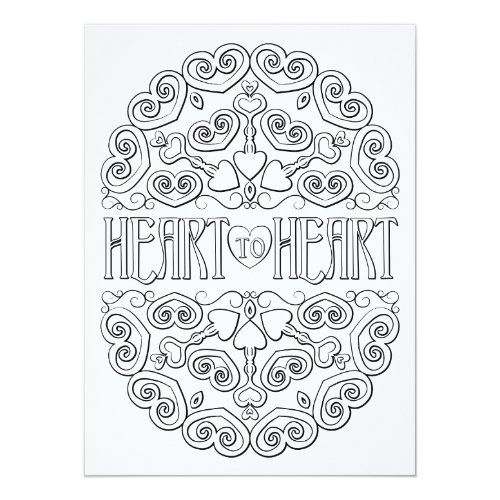 OrnaMENTALs Heart to Heart Mandala Color Your Own Card