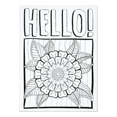 OrnaMENTALs Hello with Showy Bloom Color Your Own Card
