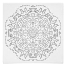 OrnaMENTALs Lotus and Ladybug Coloring Page #0003 Poster