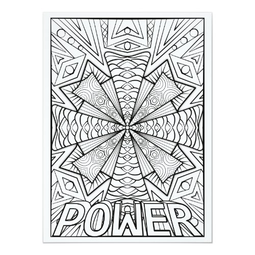 OrnaMENTALs Power Geometric Mandala Color Your Own Card