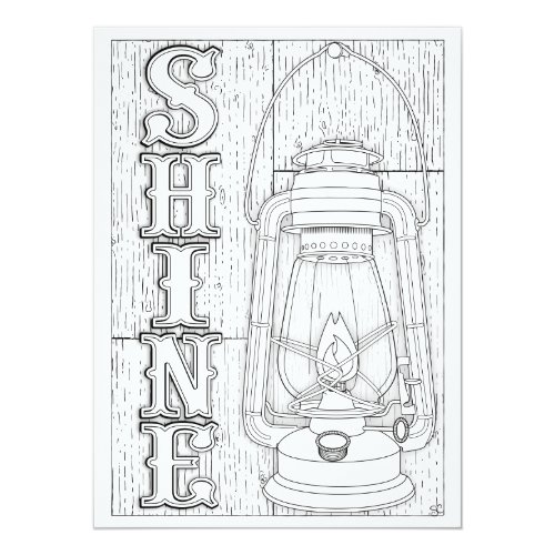 OrnaMENTALs Shine Antique Lantern Color Your Own Card
