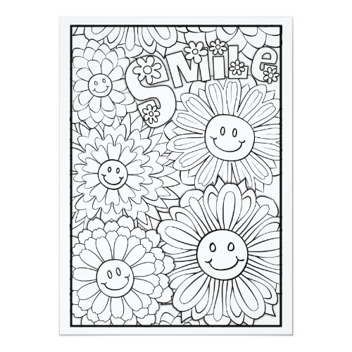 OrnaMENTALs Smile Happy Flowers Color Your Own Card