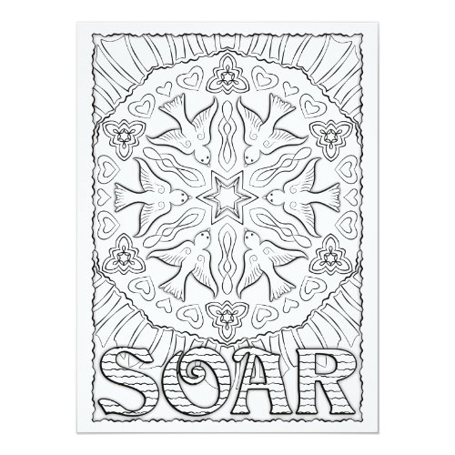 OrnaMENTALs Soar Birds Mandala Color Your Own Card