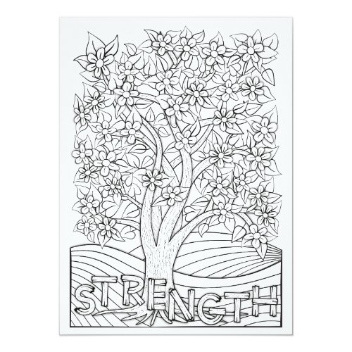 OrnaMENTALs Strength Blooming Tree Color Your Own Card