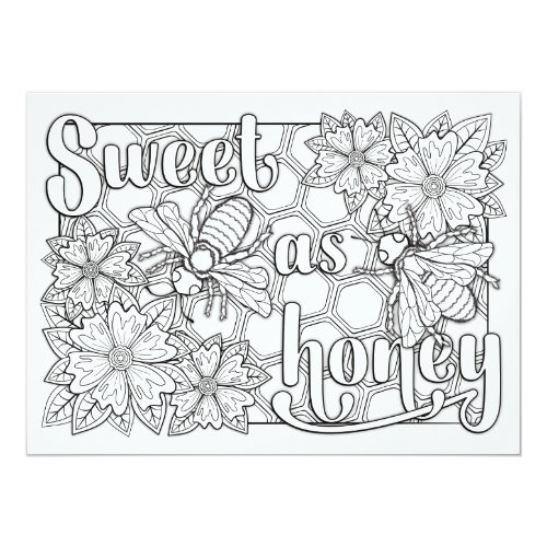 OrnaMENTALs Sweet as Honey Bees Color Your Own Card