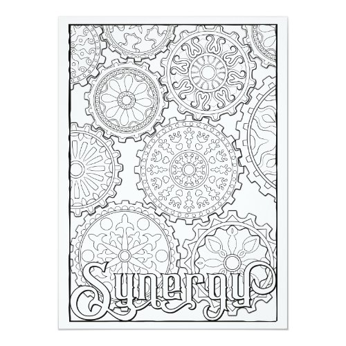 OrnaMENTALs Synergy Gears Steampunk Color Your Own Card