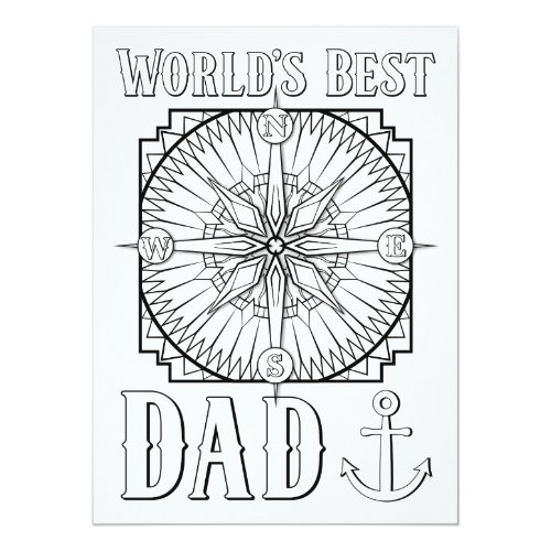 OrnaMENTALs World's Best Dad Color Your Own Card