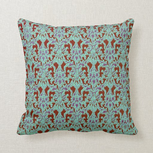 Ornate Brown Purple Amp Teal Damask Throw Pillow Zazzle
