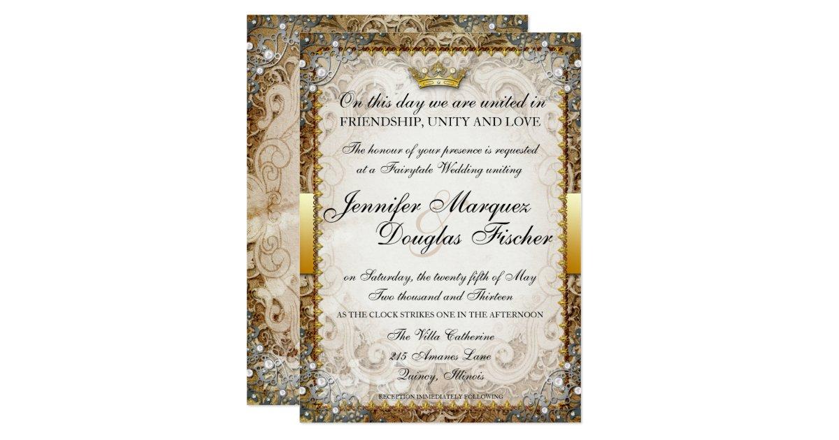 Storybook Wedding Invitation: Ornate Fairytale Storybook Wedding Invitation