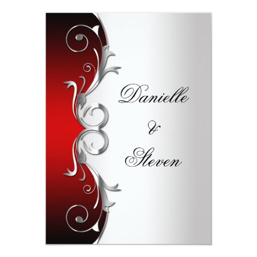Printable Wedding Invitations Designs With Red And Silver: Ornate Red Black Silver Post Wedding Celebration Card