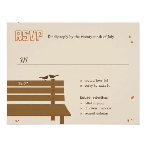 "Our Bench Fall Wedding RSVP /Response Cards 4.25"" X 5.5"