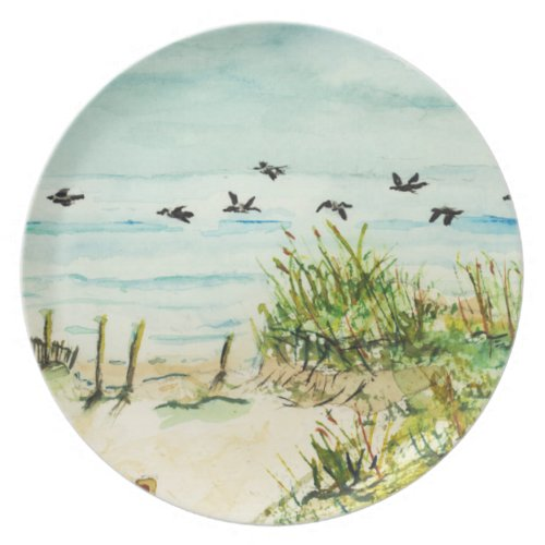 Outer Banks Sand Dunes and Seagulls Plates