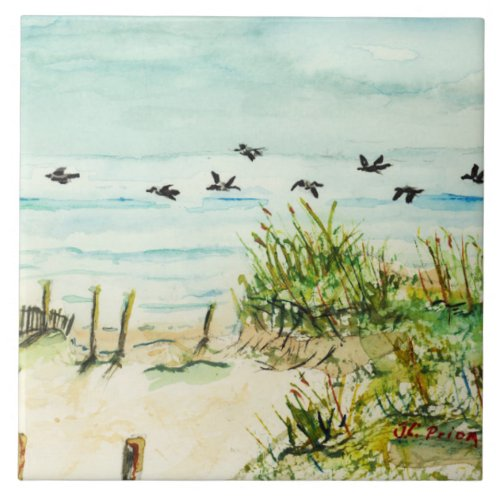 Outer Banks Sand Dunes and Seagulls Large Square Tile