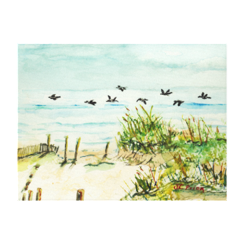 Outer Banks Sand Dunes and Seagulls Wrapped Canvas Stretched Canvas Prints