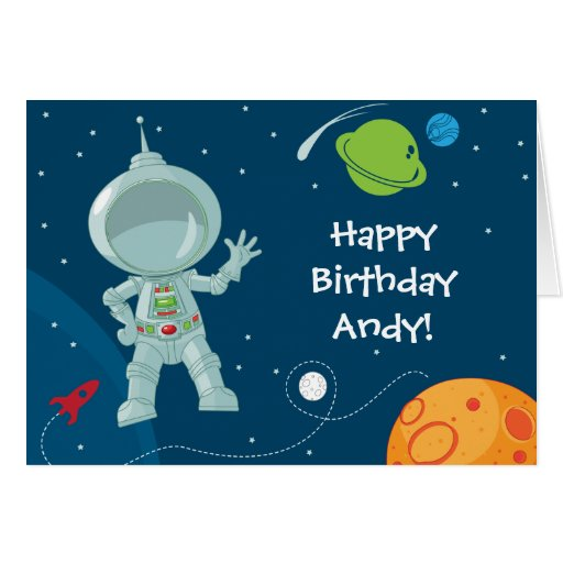 Outer Space Astronaut Birthday Greeting Card   Zazzle