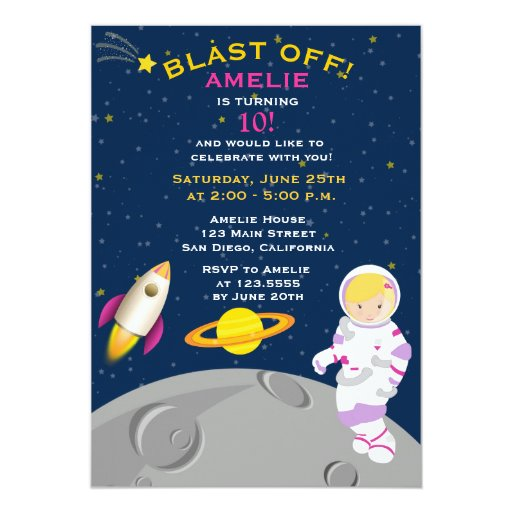 Outer Space Astronaut Birthday Party Invitation | Zazzle
