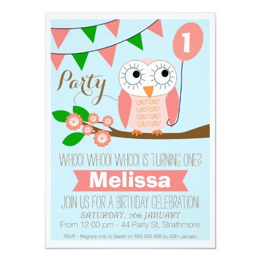 Owl And Balloon 1st Birthday Invitation