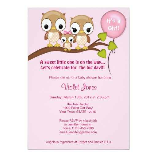 Spiritual Baby Shower Quotes: Owl Baby Shower Invitations Girl Mommy Daddy