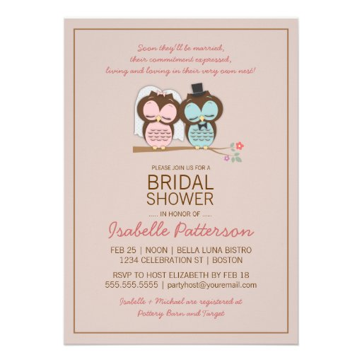 "Owl Bride & Groom Sweet Bridal Shower Invitation 5"" X 7"