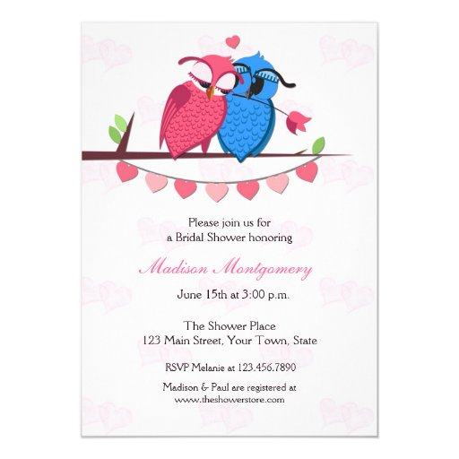 Owl Couple Bridal Shower Card
