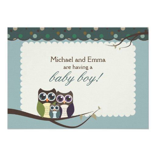 Family Baby Shower Invitations: Owl Family Baby Shower For Boy Personalized Invitations